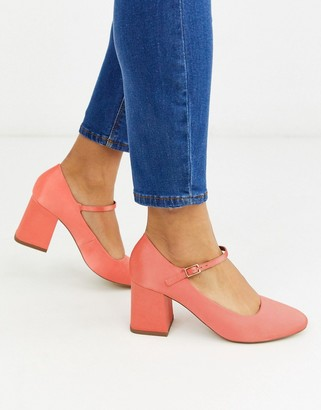 ASOS DESIGN Stories mary-jane mid heels in coral
