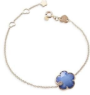 Pasquale Bruni 18K Rose Gold Petit Joli Lapis White Agate Doublet & Diamond Flower Chain Bracelet