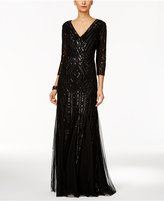 Adrianna Papell Sequin Surplice Gown