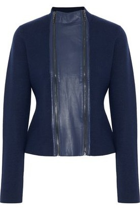 Elie Tahari Leather-trimmed Merino Wool Jacket