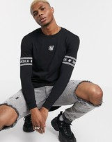 SikSilk muscle fit long sleeve top with logo