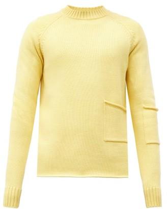 Jacquemus Patch-pocket Merino-wool Sweater - Yellow