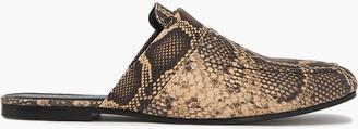 IRO Soko Studded Snake-effect Leather Slippers