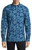 Michael Bastian Camo Printed Casual Button-Down Cotton Shirt