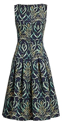 Oscar de la Renta Mimosa Stems Sleeveless A-Line Dress