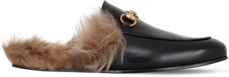Gucci Princetown Leather & Wool Mules