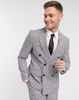 Moss Bros eco double breasted suit jacket in grey and pink check