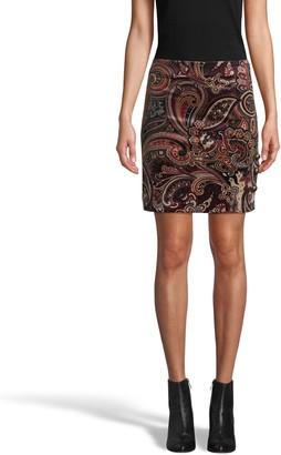 Nicole Miller Paisley Velveteen Mini Skirt