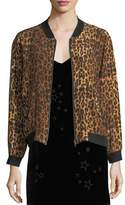 Johnny Was Leopard-Print Silk Bomber Jacket