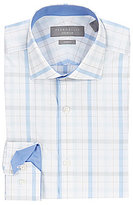 Perry Ellis Non-Iron Stretch Slim-Fit Spread-Collar Plaid Dress Shirt