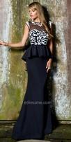 Nika Keyhole Peplum Floor length Opal Evening Dress