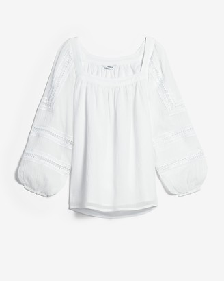 Express Square Neck Embroidered Sleeve Top