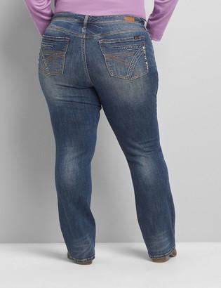 Lane Bryant Seven7 Low-Rise Boot Jean - Stud-Embellished Medium Wash
