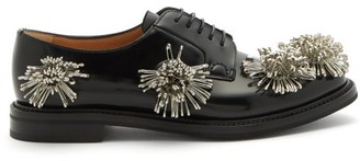 Noir Kei Ninomiya X Churchs Floral-embellished Leather Derby Shoes - Black