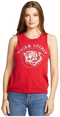 Chaser Tiger Spirit Gauzy Cotton Cropped High-Low Muscle Tank (Cardinal) Women's Sleeveless