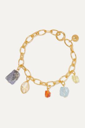 Monica Vinader + Caroline Issa Gold Vermeil Multi-stone Charm Bracelet - one size