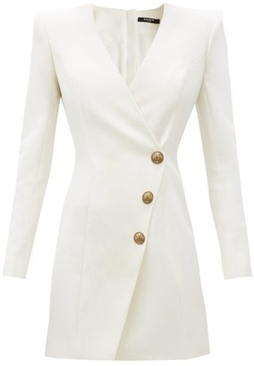 Balmain Collarless Double-breasted Wool Dress - White