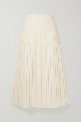 The Row Magdita Pleated Crepe Midi Skirt - Ivory