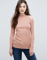 Brave Soul Rib Cold Shoulder Sweater