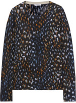 Equipment Sloane Leopard-print Cashmere Sweater - Black