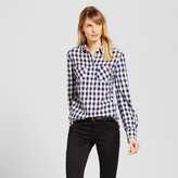 Merona Women's Gingham Popover Favorite Shirt Navy/Cream