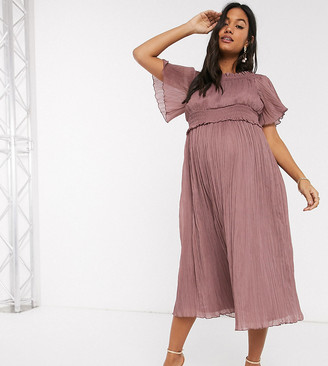 Bardot ASOS DESIGN Maternity shirred midi dress in heather