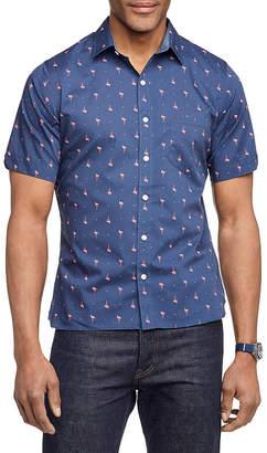 Van Heusen Big and Tall Never Tuck Short Sleeve Shirt Mens Short Sleeve Plaid Button-Front Shirt