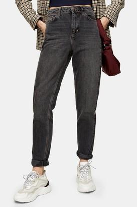 Topshop CONSIDERED Washed Black Rip Hem Mom Tapered Jeans