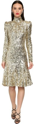 Dolce & Gabbana Flared Sequin Turtle Neck Midi Dress