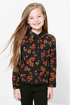 Boohoo Girls Floral Print Dip Back Shirt