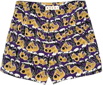 Marni Purple Silk Shorts