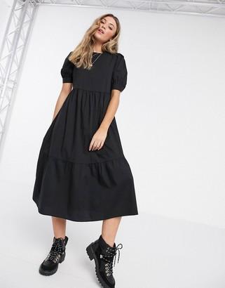 New Look midi poplin smock dress in black