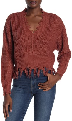 Coco + Jaimeson Distressed V-Neck Dolman Sweater