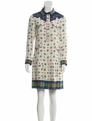 Gucci Silk Printed Dress Beige
