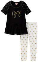 Juicy Couture Dot Sleeve Tunic & Heart Print Legging Set (Toddler Girls)