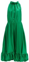 MSGM Ruffle-trimmed Charmeuse Dress - Womens - Green