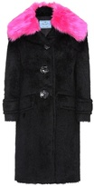 Prada Faux fur-trimmed alpaca and wool coat