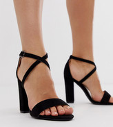 Glamorous Wide Fit cross strap heeled sandals in black