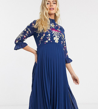 ASOS DESIGN Maternity embroidered pleated midi dress with fluted sleeve in navy