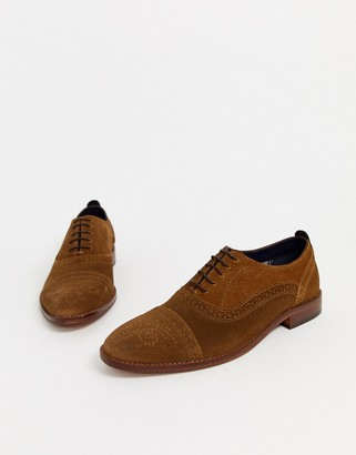Base London cast brogues in tan suede