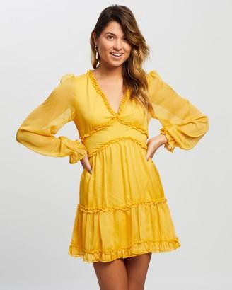 Atmos & Here Atmos&Here - Women's Yellow Mini Dresses - Alivia Ruffle Mini Dress - Size 6 at The Iconic