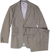 English Laundry Brown Windowpane Slim Fit Pattern Suit
