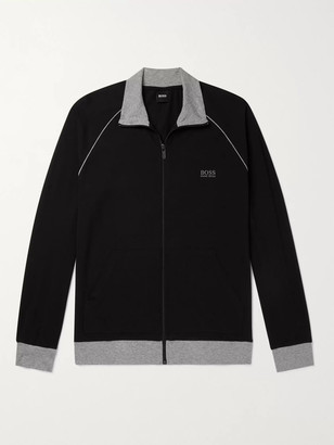 HUGO BOSS Piped Logo-Embroidered Stretch-Cotton Jersey Track Jacket - Men - Black