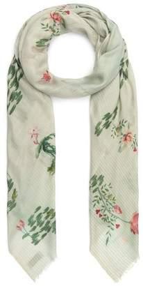 Janavi India Lotus Print Wool-Blend Scarf