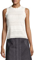Derek Lam 10 Crosby Sleeveless Pointelle Crewneck Sweater, White