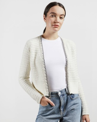 Ted Baker Boucle Style Cardigan With Chain Detail