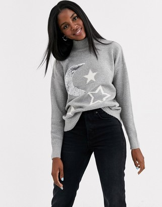 Brave Soul jumper with moon and star jacquard-Grey