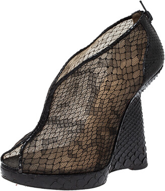Christian Louboutin Black Mesh And Python Leather Janet Wedge Booties Size 36