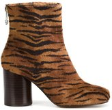 Maison Margiela tiger stripe 'Tabi' boots - women - Cotton/Leather - 36