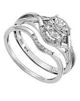 Fashion World 9 Carat Fancy Diamond Bridal Ring Set
